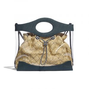 Chanel Blue PVC/Denim Shopping Bag
