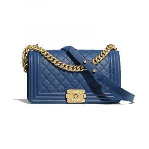 Chanel Dark Blue Boy Chanel Old Medium Flap Bag