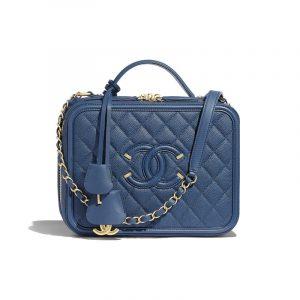 Chanel Dark Blue CC Filigree Large Vanity Case Bag
