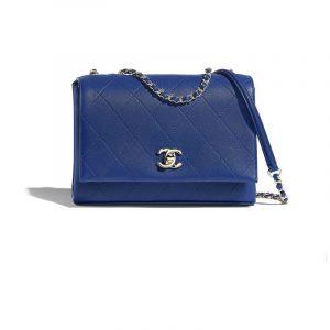 Chanel Dark Blue Calfskin Flap Bag
