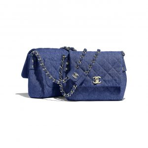 Chanel Dark Blue Denim Side Pack Bag