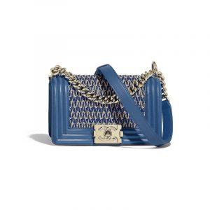 Chanel Dark Blue Lambskin Cotton Boy Chanel Small Flap Bag