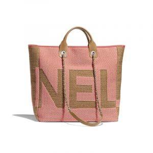 Chanel Dark Pink/Beige Mixed Fibers Maxi Chanel Medium Shopping Bag