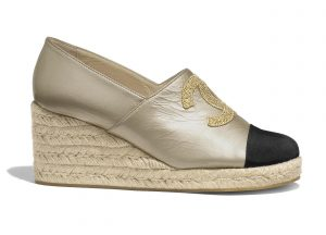 Chanel Gold/Black Lambskin Wedge Espadrilles