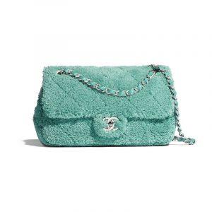Chanel Green Mixed Fibers Small Flap Bag