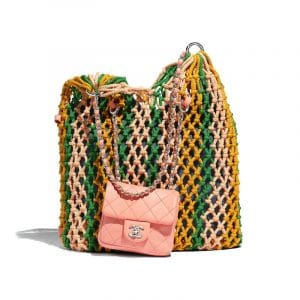 Chanel Green/Orange/Pink Mixed Fibers/Lambskin Large Shopping Bag
