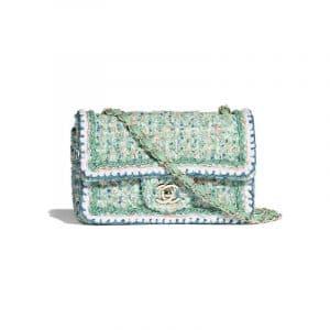 Chanel Green/White/Blue/Orange Tweed Mini Flap Bag