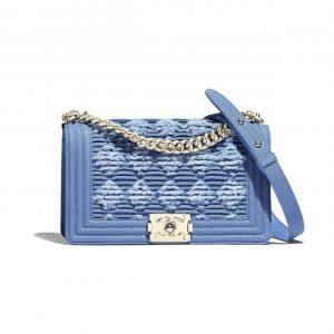 Chanel Light Blue Pleated Denim Boy Chanel Old Medium Flap Bag