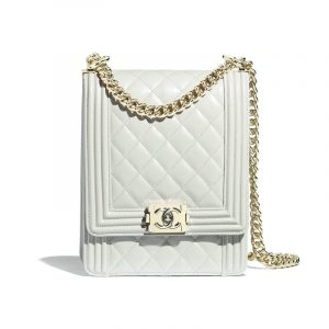 Chanel Light Gray Boy North:South Flap Bag