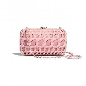 Chanel Light Pink Aluminium/Lambskin Evening Bag