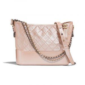 Chanel Light Pink Iridescent Aged Calfskin Gabrielle Hobo Bag