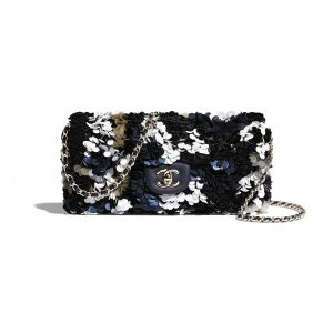 Chanel Navy Blue/White/Yellow/Black Sequins Flap Bag