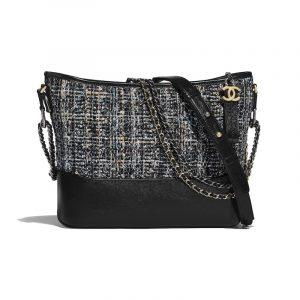 Chanel Navy/Green/Black/Ecru Tweed Gabrielle Hobo Bag
