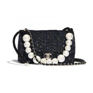 Chanel Navy/Green/Black/Ecru Tweed with Imitation Pearls Medium Flap Bag