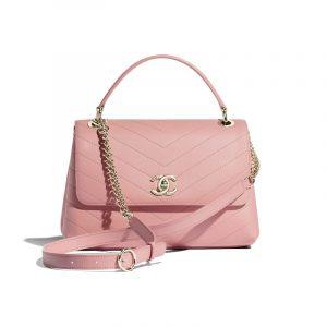 Chanel Pink Chevron Small Top Handle Bag