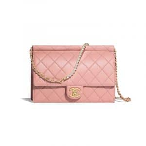 Chanel Pink Lambskin with Imitation Pearls Flap Bag