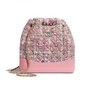 Chanel Pink/Beige/Orange/Ecru Tweed Gabrielle Small Backpack Bag