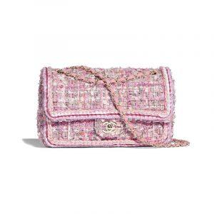 Chanel Pink/Beige/Orange/Ecru Tweed Medium Flap Bag