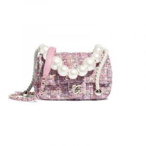 Chanel Pink/Beige/Orange/Ecru Tweed with Imitation Pearls Mini Flap Bag