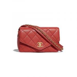 Chanel Red Calfskin Small Waist Bag