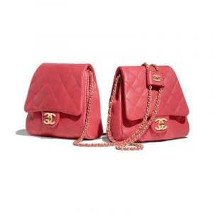 Chanel Red Lambskin Medium Side Pack Bag