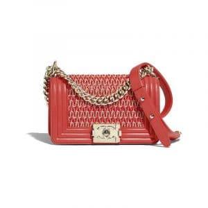 Chanel Red/Beige Lambskin Cotton Boy Chanel Small Flap Bag