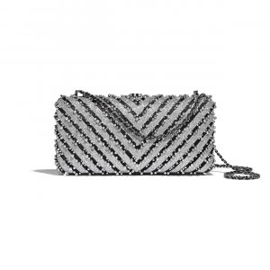 Chanel Silver/Black Mixed Fibers with Imitation Pearls Evening Bag