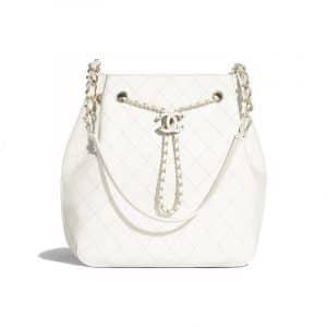Chanel White Calfskin Drawstring Bag