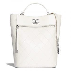 Chanel White Calfskin Large Bucket Bag