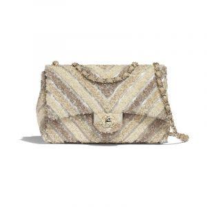 Chanel White Chevron PVC/Sequins Medium Flap Bag