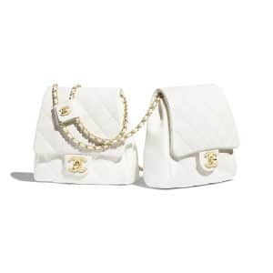 Chanel White Lambskin Medium Side Pack Bag