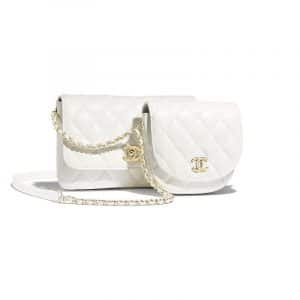 Chanel White Lambskin Side Pack Bag