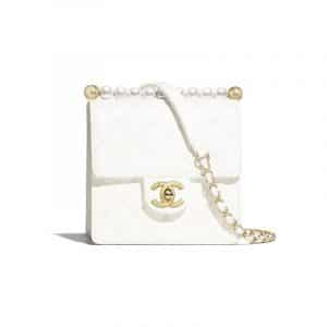 Chanel White Lambskin with Imitation Pealrs Mini Flap Bag
