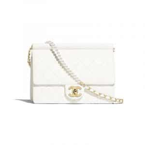 Chanel White Lambskin with Imitation Pearls Flap Bag