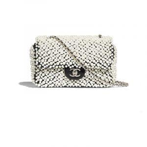 Chanel White/Black Imitation Pearls/Lambskin Mini Flap Bag
