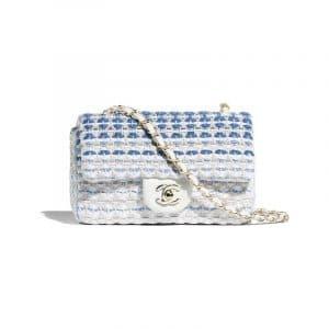 Chanel White/Blue Cotton Mini Flap Bag
