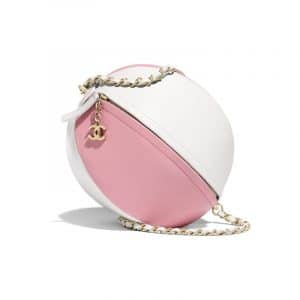 Chanel White/Pink Calfskin Beach Ball Bag