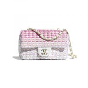 Chanel White/Pink Cotton Mini Flap Bag