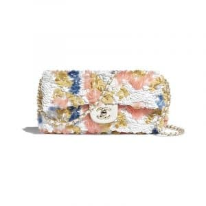 Chanel White/Pink/Gold/Blue Sequins Flap Bag