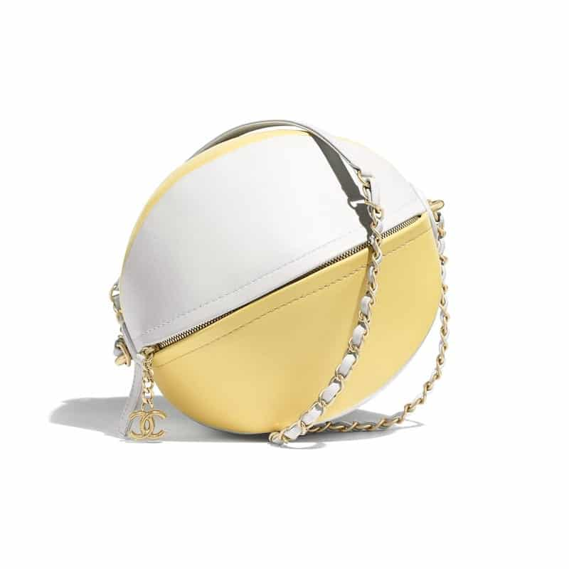 f9781a7093de Chanel White Yellow Calfskin Beach Ball Bag