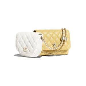Chanel White/Yellow Lambskin Two-Tone Side Pack Bag