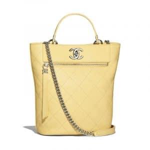 Chanel Yellow Calfskin Bucket Bag