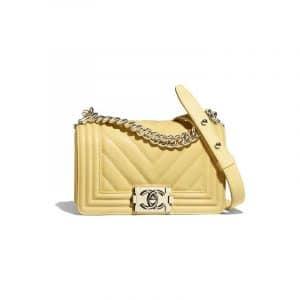 Chanel Yellow Chevron Small Boy Flap Bag
