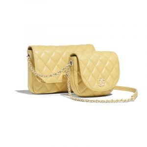 Chanel Yellow Lambskin Side Pack Bag