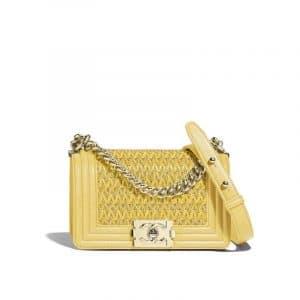 Chanel Yellow/Beige Lambskin Cotton Boy Chanel Small Flap Bag