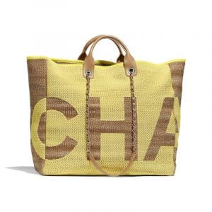Chanel Yellow/Dark Beige Mixed Fibers Maxi Chanel Large Shopping Bag