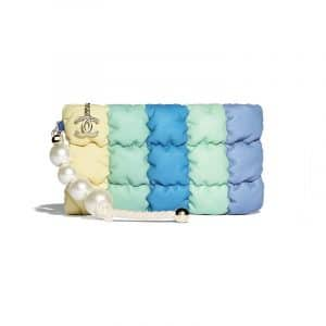 Chanel Yellow/Green/Blue Lambskin with Imitation Pearls Small Clutch Bag
