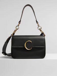 Chloe Black C Small Double Carry Bag