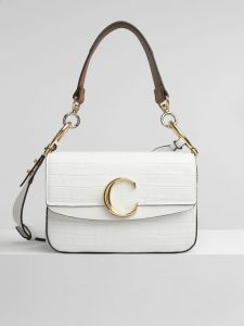 Chloe Brilliant White Embossed Croco Effect C Small Double Carry Bag