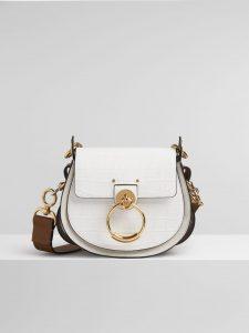 Chloe Brilliant White Embossed Croco Effect Tess Small Bag